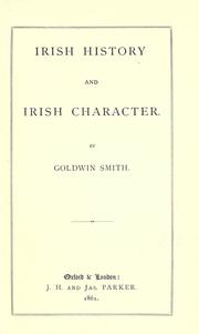 Cover of: Irish history and Irish character
