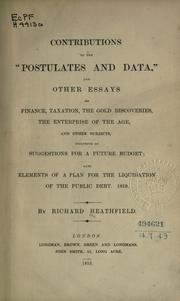 "Cover of: Contributions to the ""Postulates and data"" 