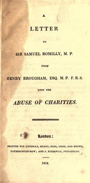 Cover of: A letter to Sir Samuel Romilly, M.P