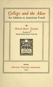 Cover of: College and the man: an address to American youth