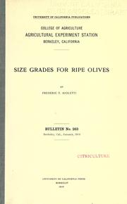 Size grades for ripe olives by Frederic T. Bioletti