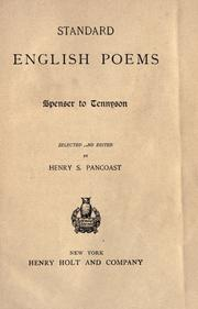 Cover of: Standard English poems by Pancoast, Henry Spackman