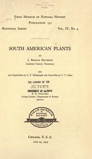 Cover of: South American plants