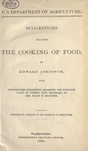 Cover of: Suggestions regarding the cooking of food