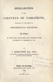 Cover of: Researches in the calculus of variations, principally on the theory of discontinuous solutions