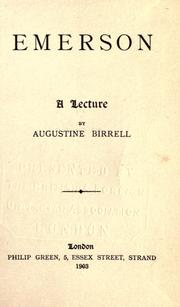 Cover of: Emerson: a lecture