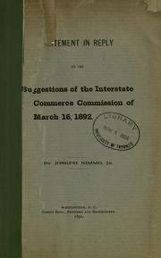 Cover of: Statement in reply to the suggestions of the Interstate commerce commission of March 16, 1892