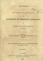 Cover of: An essay on the best means of ascertaining the affinities of oriental languages