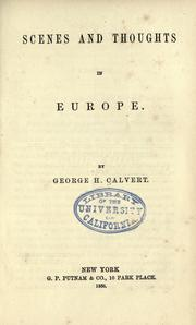 Cover of: Scenes and thoughts in Europe