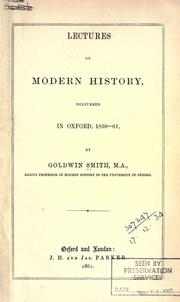Cover of: Lectures on modern history, delivered in Oxford, 1859-61