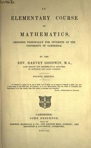 Cover of: An elementary course of mathematics: designed principally for students of the University of Cambridge