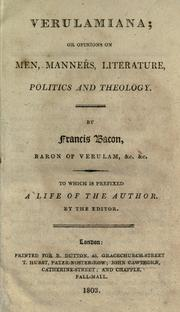 Cover of: Verulamiana