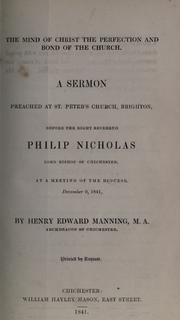 Cover of: The mind of Christ the perfection and bond of the church