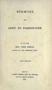 Cover of: Sermons for Lent to Passiontide