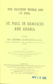 Cover of: St. Paul in Damascus and Arabia