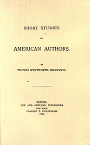 Cover of: Short studies of American authors