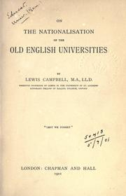 Cover of: On the nationalisation of the old English universities