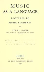 Cover of: Music As a Language
