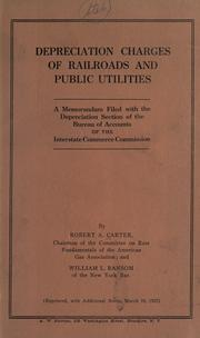 Cover of: Depreciation charges of railroads and public utilities