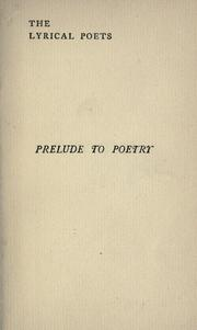 Cover of: The prelude to poetry
