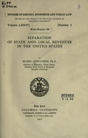 Separation of state and local revenues in the United States by Mabel Newcomer