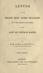 Cover of: Letter to the Right Hon. Lord Stanley ... on the law of church rates