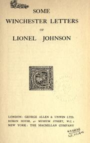 Cover of: Some Winchester letters of Lionel Johnson