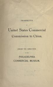 Cover of: Prospectus of United States commercial commission to China