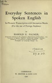 Cover of: Everyday sentences in spoken English | Palmer, Harold E.