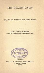 Cover of: The golden guess: essays on poetry and the poets