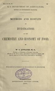 Cover of: Methods and results of investigations on the chemistry and economy of food