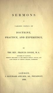 Cover of: Sermons on various topics of doctrine, practice, and experience |