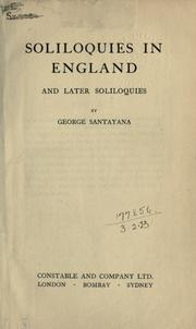 Cover of: Soliloquies in England and later soliloquies