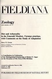 Cover of: Diet and arboreality in the emerald monitor, Varanus prasinus by Greene, Harry W.