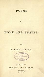 Cover of: Poems of home and travel