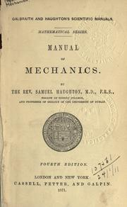 Cover of: Manual of mechanics