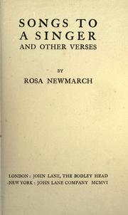 Cover of: Songs to a singer, and other verses