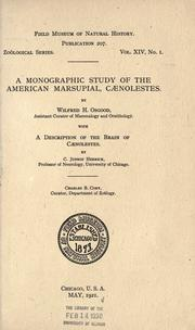 Cover of: A monographic study of the American marsupial, Caenolestes