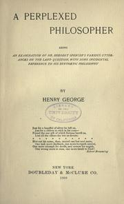 A perplexed philosopher by George, Henry