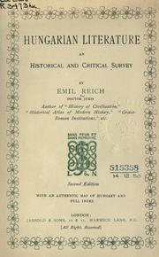 Hungarian literature by Reich, Emil