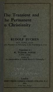 Cover of: The transient and the permanent in Christianity