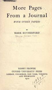Cover of: More pages from a journal, with other papers