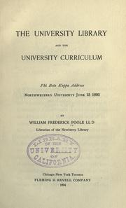 The university library and the university curriculum by William Frederick Poole