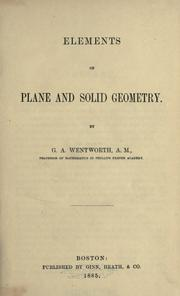Cover of: Elements of plane and solid geometry