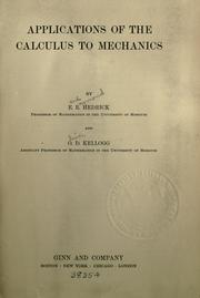 Cover of: Applications of the calculus to mechanics