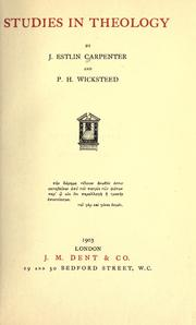 Cover of: Studies in theology