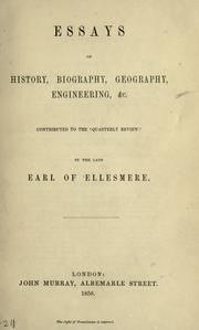 Cover of: Essays on history, biography, geography, engineering, etc