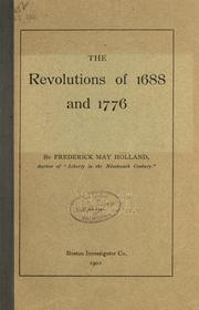 Cover of: The revolutions of 1688 and 1776