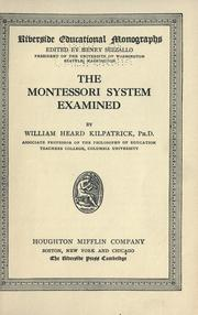 Cover of: The Montessori system examined