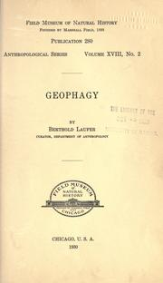 Cover of: Geophagy